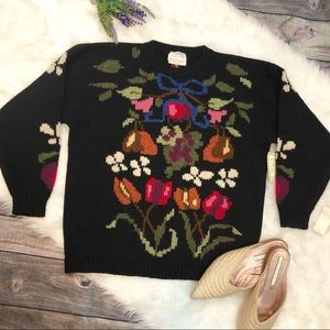 NEW Vintage Oversized Floral Wool Sweater